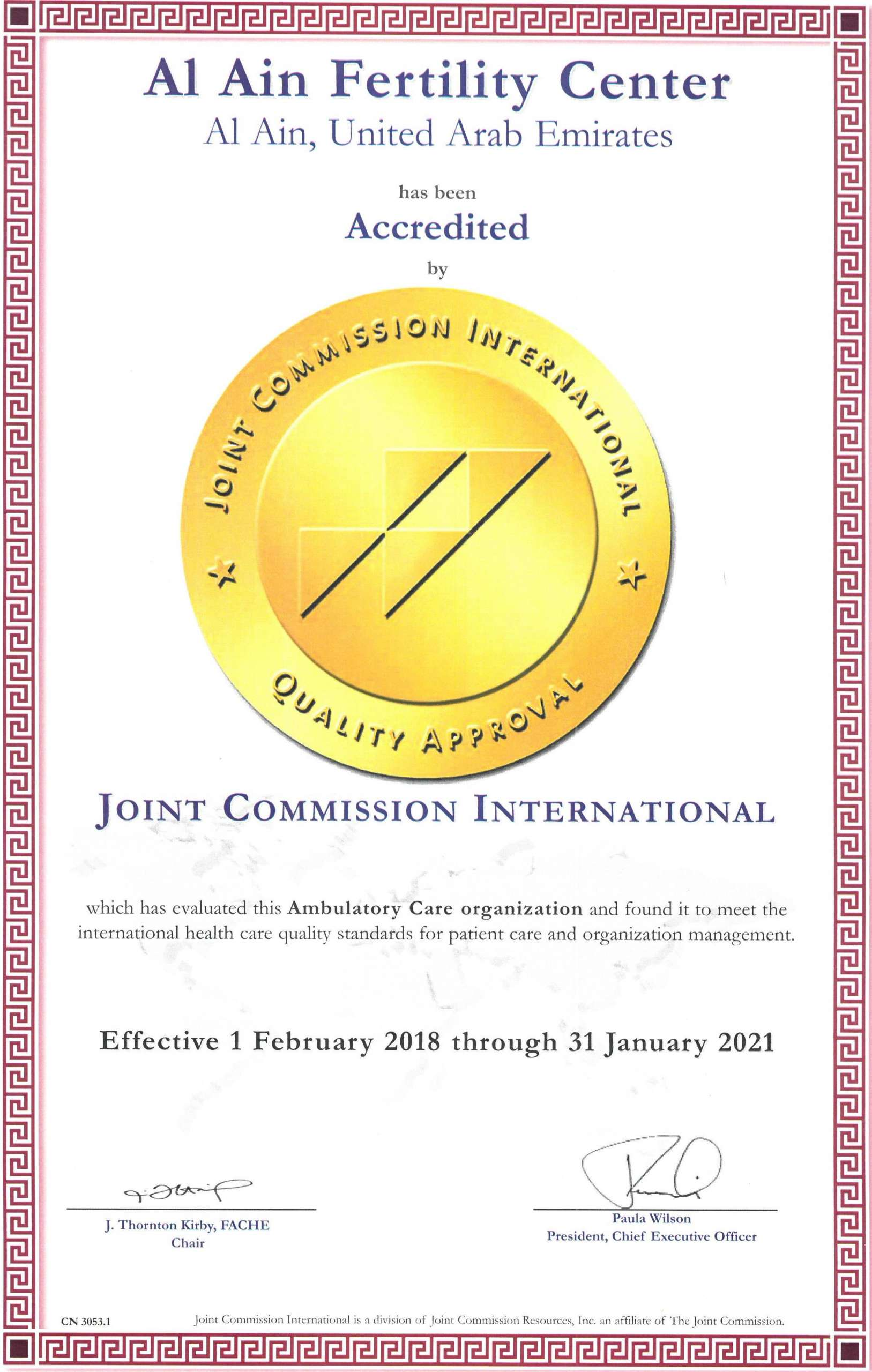 AAFC Accredited by Joint Commission International (JCI)